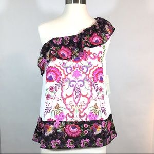 Lily White Pink One Shoulder Floral Top NWT Size S